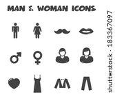 Man And Woman Icons  Mono...