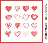 doodle hearts  hand drawn love... | Shutterstock .eps vector #1833707047