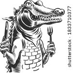 Hungry Alligator With A Knife...