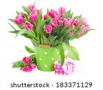 bouquet of pink tulips in green ... | Shutterstock . vector #183371129