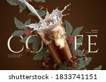 cold brew coffee ads with retro ...   Shutterstock . vector #1833741151