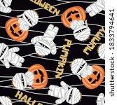 halloween mummy and pumpkyn  on ... | Shutterstock .eps vector #1833794641