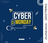 cyber monday text with line art ...   Shutterstock .eps vector #1833798901