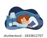 sleepy awake woman in bed... | Shutterstock .eps vector #1833812707