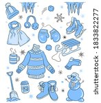 sticker set with cute snowmen ...