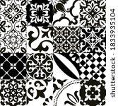 set of 16 tiles azulejos in... | Shutterstock .eps vector #1833935104