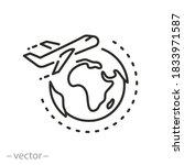 international travel on plane... | Shutterstock .eps vector #1833971587