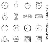 vector set of sketch time icons | Shutterstock .eps vector #183397511