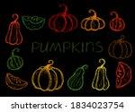 crayon pumpkins set. children... | Shutterstock .eps vector #1834023754