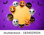 halloween party  banner  scary... | Shutterstock .eps vector #1834029034