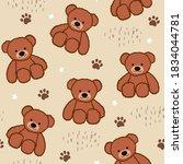 brown teddy bear seamless... | Shutterstock .eps vector #1834044781