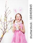 cheerful little girl decorating ... | Shutterstock . vector #183405845