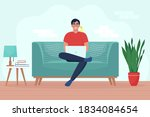 man with laptop sitting on sofa.... | Shutterstock .eps vector #1834084654