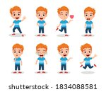 cute kid boy character set... | Shutterstock .eps vector #1834088581