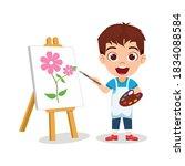 happy cute kid boy drawing... | Shutterstock .eps vector #1834088584