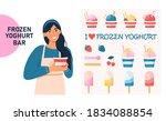 frozen yogurt ice cream concept.... | Shutterstock .eps vector #1834088854
