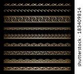 set of vintage gold wavy... | Shutterstock .eps vector #183409814