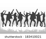 dancing silhouettes | Shutterstock .eps vector #183410021