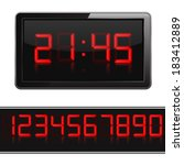 Red Digital Clock And Numbers ...
