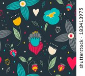 cute seamless pattern with... | Shutterstock .eps vector #183413975