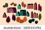 set of cute houses and autumn... | Shutterstock .eps vector #1834141981