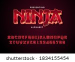 3d modern red metallic game style font alphabet collection. Ninja game logo title template. Realistic metal font. Shiny metallic letters with shadows, chrome text and metals alphabet.
