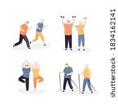 set of old people doing sports...   Shutterstock .eps vector #1834162141