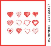 doodle hearts  hand drawn love... | Shutterstock .eps vector #1834166677