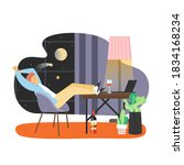 young man working from home... | Shutterstock .eps vector #1834168234