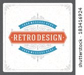 retro typographic design...   Shutterstock .eps vector #183416924