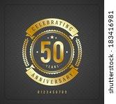 golden vintage anniversary... | Shutterstock .eps vector #183416981