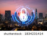 hologram of padlock on sunset... | Shutterstock . vector #1834231414