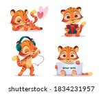 Cute Baby Tiger Character In...