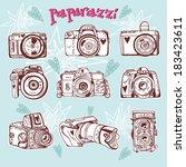 vector retro set pattern with... | Shutterstock .eps vector #183423611