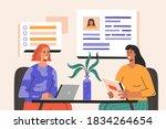 job interview  woman have... | Shutterstock .eps vector #1834264654
