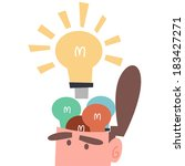 businessman with many ideas   Shutterstock .eps vector #183427271