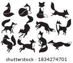set of sillhouette foxes.... | Shutterstock .eps vector #1834274701