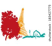 hand drawn eiffel tower. paris  ... | Shutterstock .eps vector #183427775