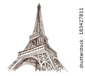 Hand Drawn Eiffel Tower. Paris...