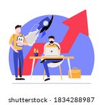 sales managers with laptops and ... | Shutterstock .eps vector #1834288987