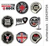 rock music labels | Shutterstock .eps vector #183439934