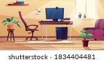 home office interior in cartoon ... | Shutterstock .eps vector #1834404481