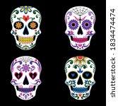 a set of mexican skulls ... | Shutterstock .eps vector #1834474474