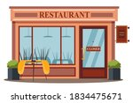 closed restaurant front view...   Shutterstock .eps vector #1834475671