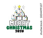 merry christmas 2020   toilet... | Shutterstock .eps vector #1834499107