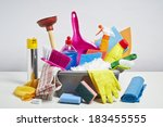 house cleaning products pile.... | Shutterstock . vector #183455555