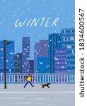 city winter landscape. big city ... | Shutterstock .eps vector #1834600567
