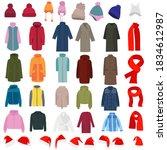 jacket  coat  hat in flat... | Shutterstock .eps vector #1834612987