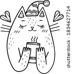 Cute Cartoon Cat Wearing A...