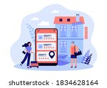tiny tourists booking hotel...   Shutterstock .eps vector #1834628164